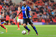 Goalscorer Calvin Andrew shoots Charlton Athletic and Rochdale at The Valley, London, England on 1 October 2016. Photo by Daniel Youngs.