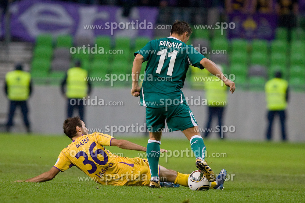 Ermin Rakovic of NK Olimpija vs Ales Majer of NK Maribor during the football match between NK Olimpija and NK Maribor, played in the 4th Round of Prva liga football league 2010 - 2011, on September 29, 2010, SRC Stozice, Ljubljana, Slovenia. (Photo by Matic Klansek Velej / Sportida)