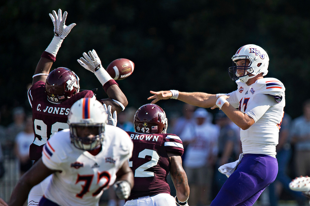 STARKVILLE, MS - SEPTEMBER 19:  Stephen Rivers #13 of the Northwestern State Demons throws a pass during a game against the Mississippi State Bulldogs at Davis Wade Stadium on September 19, 2015 in Starkville, Mississippi.  The Bulldogs defeated the Demons 62-13.  (Photo by Wesley Hitt/Getty Images) *** Local Caption *** Stephen Rivers