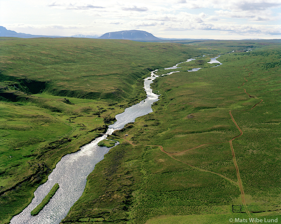 Brettingsstaðir, Laxá séð til suðurs, Þingeyjarsveit áður Reykdælahreppur / Brettingsstadir, Laxa river viewing south, Thingeyjarsveit former Reykdaelahreppur.