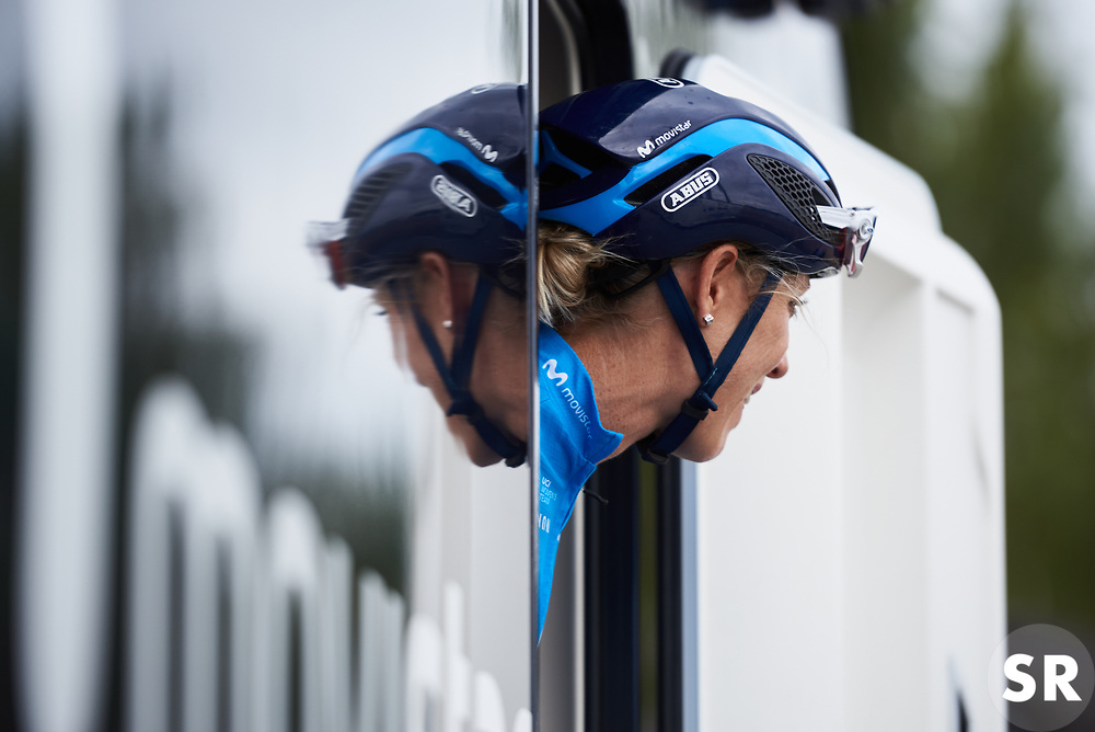 Rachel Neylan (AUS) appears from the team camper at Ladies Tour of Norway 2018 Team Time Trial, a 24 km team time trial from Aremark to Halden, Norway on August 16, 2018. Photo by Sean Robinson/velofocus.com