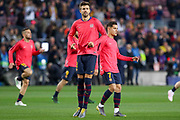 Barcelona defender Gerard Pique (3) in warm up during the Champions League quarter-final leg 2 of 2 match between Barcelona and Manchester United at Camp Nou, Barcelona, Spain on 16 April 2019.