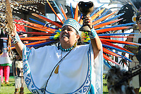 """Dancers from throughout the Aztec community in California came together on Saturday, February 9th, 2013, to perform a unique """"xilonen"""" coming-of-age ritual for Josselyn Melanie Cuauhyolotzin at the Salinas home of her parents."""