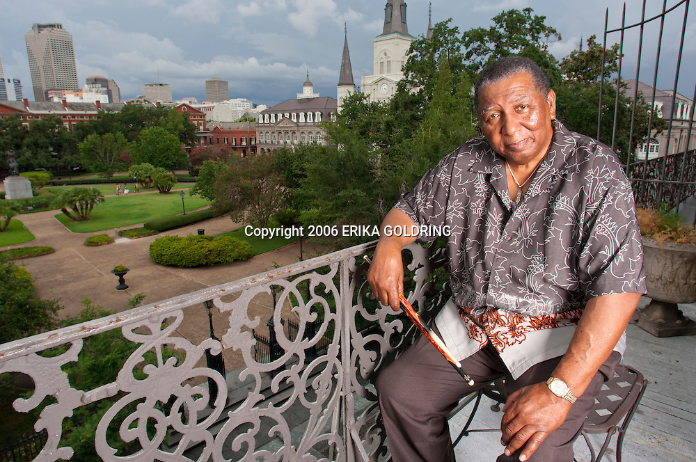 Bob French poses for a portrait for the cover of DownBeat Magazine on July 4, 2006, at the Pontalba in New Orleans, LA. © Erika Goldring - All Rights Reserved.