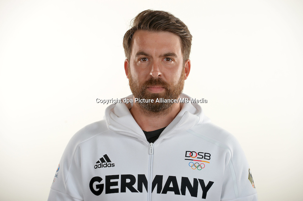 Marco Diaz poses at a photocall during the preparations for the Olympic Games in Rio at the Emmich Cambrai Barracks in Hanover, Germany. July 25, 2016. Photo credit: Frank May/ picture alliance. | usage worldwide