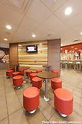 Interior and exterior achitectural photographies of McDonald's restaurants new desing. Photographies d'architecture intérieur et extérieur du nouveau design des reataurants McDonald's à  7275 Boul. Saint Laurent / Montreal / Canada / 2012-07-04, Photo © Marc Gibert / adecom.ca