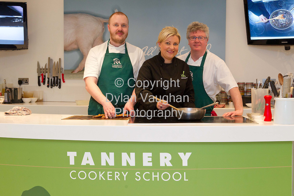 9/1/2012.Finnish Chef, Mickael Viljanen, Rozanne Stevens and Paul Flynn at the Tannery Cookery School in Dungarvan County Waterford..Picture Dylan Vaughan...
