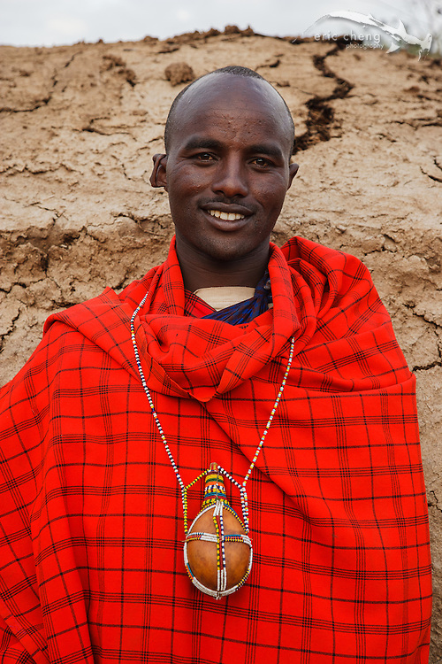 The head of a Maasai tribe at a manyatta, an extended Maasai party in which rites of passage are performed. Near Loliondo, Tanzania.