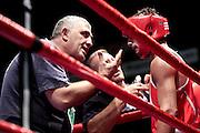 Milan, 04-09-2009 ITALY - Aiba World Boxing Championship Milan 2009.  Light Welter 64 kg preliminaries..Pictured:  Vangeli Dario ITA red .Photo by Giovanni Marino/OTNPhotos . Obligatory Credit