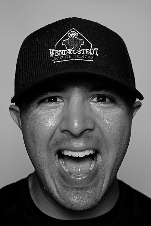 DAYTONA BEACH, FL - FEBRUARY 2, 2016:  Portraits of umpires calling a strike at the Harry Wendelstedt Umpire School in Daytona Beach, Fla.: Memo Rodriguez, 24, of Chico, CA. (Photo by Melissa Lyttle)