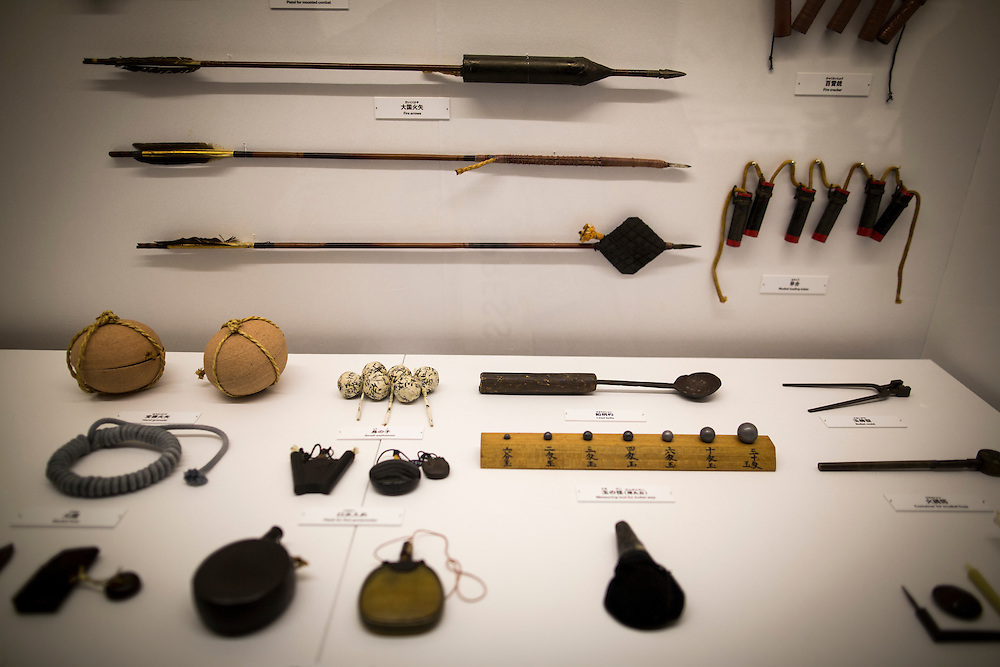 "TOKYO, JAPAN - JULY 2 : A variety of ninja's weapon on display during a ninja exhibition that kicks off Saturday at Miraikan in Tokyo, Japan on July 2, 2016. A special exhibition entitled ""The Ninja- who were they?"" will be open from July 2 (Saturday), 2016 to October 10 (Monday) 2016 at the Miraikan (National Museum of Emerging Science and Innovation). Photo: Richard Atrero de Guzman"