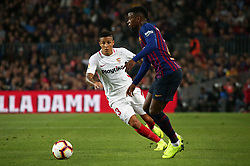 October 20, 2018 - Barcelona, Catalonia, Spain - Nelson Semedo and Arana during the match between FC Barcelona and Sevilla CF, corresponding to the week 9 of the Liga Santander, played at the Camp Nou, on 20th October 2018, in Barcelona, Spain. (Credit Image: © Joan Valls/NurPhoto via ZUMA Press)