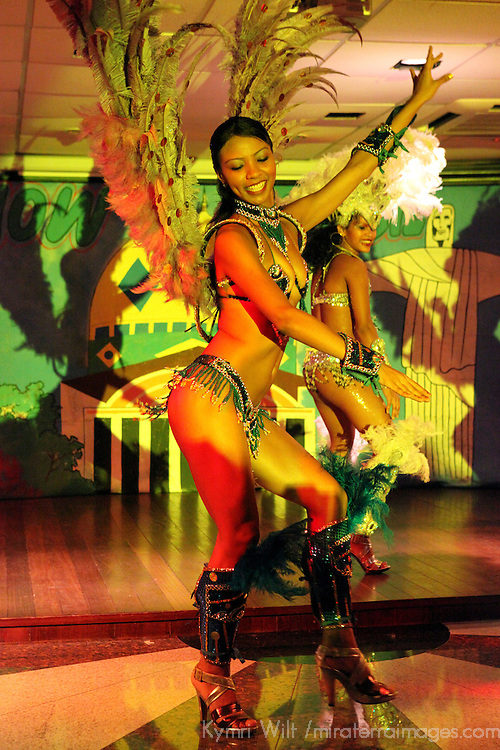 South America, Brazil. Amazon River. Dancers provide entertainment aboar the Ibeostar Grand Amazon.