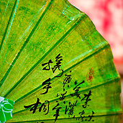 Traditional wax paper umbrella with original artwork for sale at Jing Zih Ting Oil-paper Umbrella Factory, Meinong Township, Kaohsiung County, Taiwan