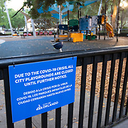 Lake Eola playground is closed due to a stay at home order that was issued by Orange County government on Friday, March 27, 2020 in Orlando, Florida.  (Alex Menendez via AP)