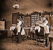 Vintage Photo: Al Hall's Barbershop, 1898 Shave and a haircut. Straight razor.glass neg aquired 4/2001 men. work. jobs, professions  grooming, fashion