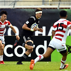 Will Tucker of New Zealand scores a try during the U20 World Championship match between New Zeland and Japan on May 30, 2018 in Narbonne, France. (Photo by Alexandre Dimou/Icon Sport)