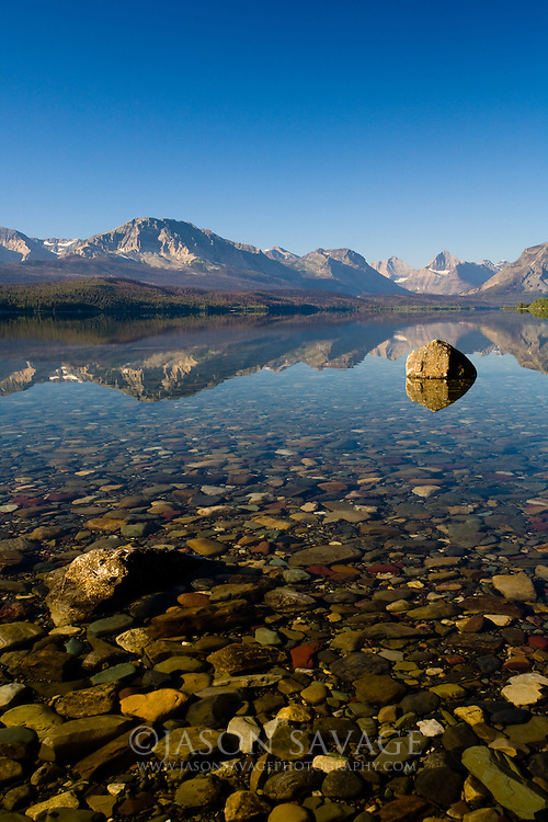 Calm morning on St Mary Lake, Glacier National Park.