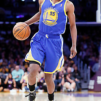 11 April 2014: Golden State Warriors guard Jordan Crawford (55) dribbles during the Golden State Warriors 112-95 victory over the Los Angeles Lakers at the Staples Center, Los Angeles, California, USA.