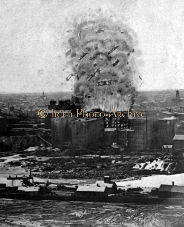 The great mill disaster! c1878. photographic print on stereo card : stereograph. Washburn Mill as it appeared when the explosion occurred, Minneapolis, Minn., May 2, 1878.