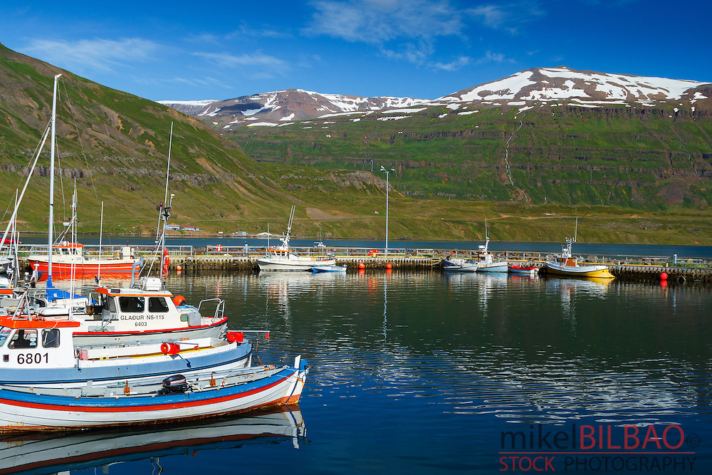 Fishing port.<br /> Seydisfjordur. East Fjords. Iceland, Europe.
