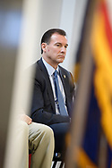 "Westbury, New York, USA. January 15, 2017. Representative THOMAS SUOZZI (Democrat - 3rd Congressional District NY), sitting on stage, is one of the hosts at the ""Our First Stand"" Rally against Republicans repealing the Affordable Care Act, ACA, taking millions of people off health insurance, making massive cuts to Medicaid, and defunding Palnned Parenthood. Rep. K. Rice (Democrat - 4th Congressional District) was also a host."