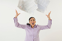 Woman Tossing Forms in the Air