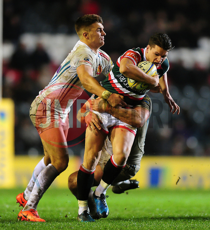 Freddie Burns of Leicester Tigers takes on the Exeter Chiefs defence - Mandatory byline: Patrick Khachfe/JMP - 07966 386802 - 03/03/2017 - RUGBY UNION - Welford Road - Leicester, England - Leicester Tigers v Exeter Chiefs - Aviva Premiership.
