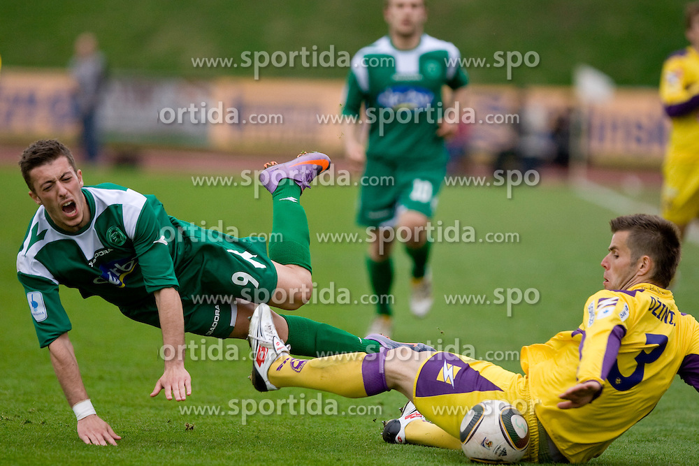 Agim Ibraimi of Olimpija injured by Elvedin Dzinic of Maribor  at football match of 31st Round of 1st Slovenian League  between NK Olimpija and NK Maribor, on April 16, 2010, in ZAK Stadium, Ljubljana, Slovenia. (Photo by Vid Ponikvar / Sportida)