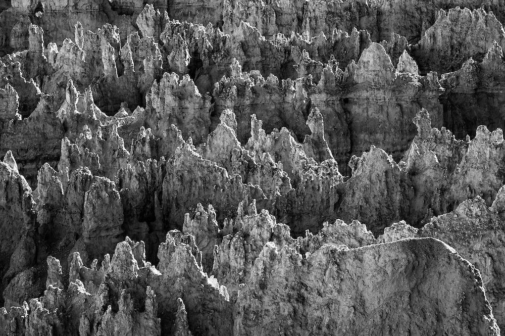 "The Paiute Indians believed the ""hoodoos"" were the petrified bodies of the ""Legend People"", who inhabited the region before the Native American's, massive stone formations frozen in time as punishment for bad behavior.  This is a black and white shot of the hoodoo's of ""Wall Street"" in Bryce Canyon, Utah as the final light of the day brushes the stones, giving them form."