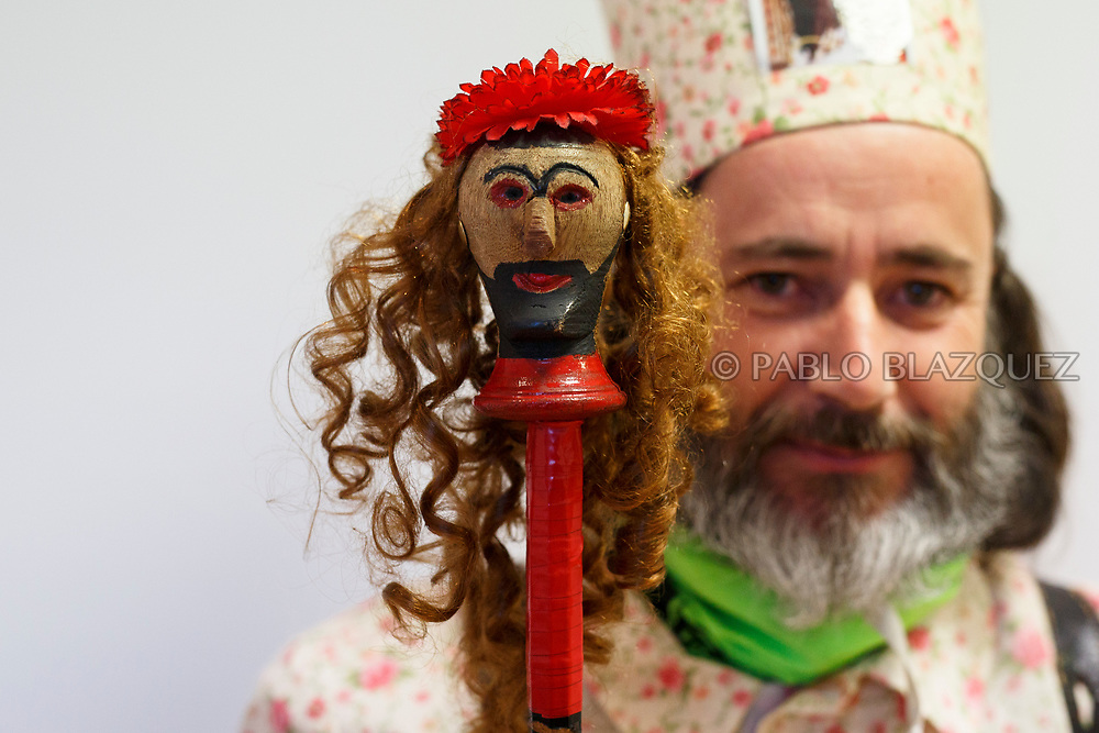 2018/02/02. ALMONACID DEL MARQUESADO, SPAIN - JANUARY 16: A worshipper dressed as Diablo 'Devil' poses with his porra 'baton' during the Endiablada 'The Brotherhood of the Devils' festival on February 2, 2018 in Almonacid del Marquesado, Cuenca province, Spain. La Endiablada is a centenary tradition of unknown origins celebrated on Virgen de la Candelaria 'Our Lady of Candelaria' and San Blas 'Saint Blaise' days. The Diablos wear colourful clothes, a hat and carry bells and personalised porras 'batons'. (Photo by Pablo Blazquez Dominguez)