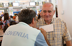 Khalid Nasif and Martin Steiner at departure of team Slovenia at the end of European Athletics Championships Barcelona 2010, on August 2, 2010 at Airport, Barcelona, Spain. (Photo by Vid Ponikvar / Sportida)