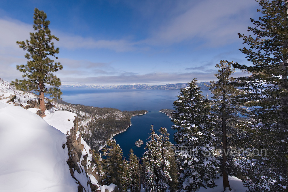 A picture of Emerald Bay in winter from the top of Maggie's Peak.