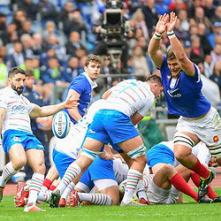 (R-L) Paul Willemse of France tries to charge down a kick from Tito Tebaldi of Italy during the Guinness Six Nations match between Italy and France on March 16, 2019 in Rome, Italy. (Photo by Dave Winter/Icon Sport)