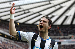 Daryl Janmaat of Newcastle United tries to get the crowd to make more noise - Mandatory byline: Robbie Stephenson/JMP - 20/03/2016 - FOOTBALL - ST James Park - Newcastle, England - Newcastle United v Sunderland - Barclays Premier League