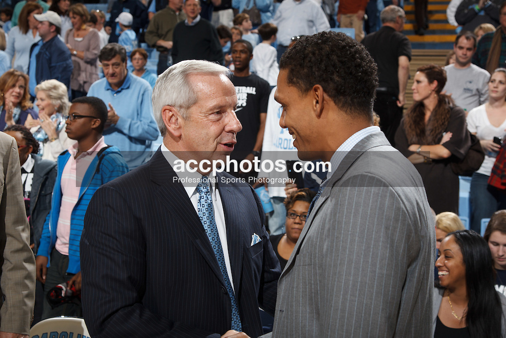 CHAPEL HILL, NC - JANUARY 01: Head coach Roy Williams of the North Carolina Tar Heels speaks with head coach King Rice of the Monmouth Hawks on January 01, 2012 at the Dean E. Smith Center in Chapel Hill, North Carolina. North Carolina won 65-102. (Photo by Peyton Williams/UNC/Getty Images) *** Local Caption *** Roy Williams;King Rice