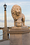 Medici Lion statue at the Bridge of Lions in St. Augustine, Florida. St Augustine is the oldest city in America.