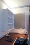 Above desk cupboard/notice board, open