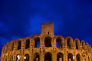 The Amphitheatre in Arles, France at dusk