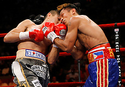 June 5, 2007; New York, NY, USA;  Humberto Soto (grey trunks) and Bobby Pacquiao (blue trunks) trade punches during their 10 round bout at Madison Square Garden in New York City.