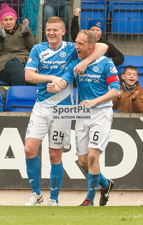 #24 Brian Easton and goal scorer #6 Steven Anderson (St Johnstone) celebrate - St Johnstone v Dundee - Ladbrokes Premiership - 23 October 2016 - © Russel Hutcheson | SportPix.org.uk