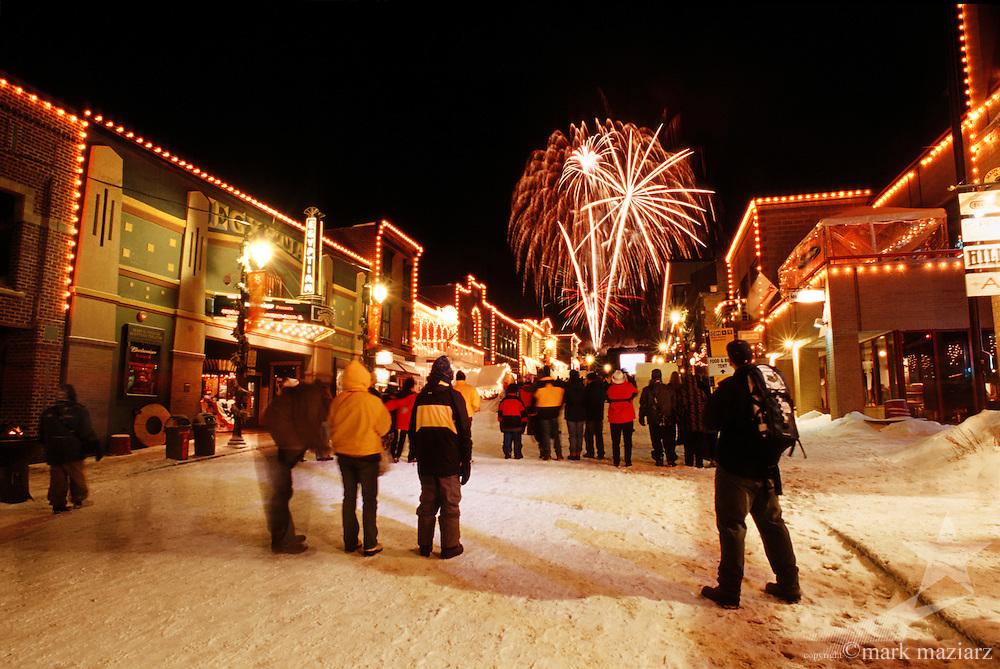Olympic fireworks on Main Street, Park City UT USA