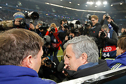 "25.11.2014, Veltins Arena, Gelsenkirchen, GER, UEFA CL, Schalke 04 vs FC Chelsea, Gruppe G, im Bild Headcoach Jose ""the special one"" Mourinho (FC Chelsea) on the substitution bench with photographers // during the UEFA Champions League group G match between Schalke 04 and Chelsea FC at the Veltins Arena in Gelsenkirchen, Germany on 2014/11/25. EXPA Pictures © 2014, PhotoCredit: EXPA/ Eibner-Pressefoto/ Schueler<br /> <br /> *****ATTENTION - OUT of GER*****"