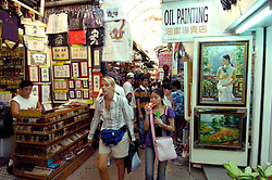 Interior of Stanley Market in Hong Kong a favourite place for tourists to buy Chinese souvenirs