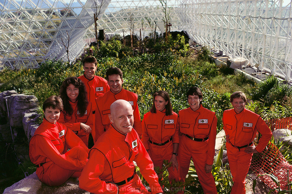 Biosphere 2 Project undertaken by Space Biosphere Ventures, a private ecological research firm funded by Edward P. Bass of Texas. Candidates for (1990)'s Biosphere 2 project. Dr. Roy Walford (bald) is front and center. Biosphere 2 was a privately funded experiment, designed to investigate the way in which humans interact with a small self-sufficient ecological environment, and to look at possibilities for future planetary colonization. (1989).