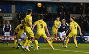 Steve Morison gets his header during the Johnstone's Paint Trophy semi final first leg match between Millwall and Oxford United at The Den, London, England on 14 January 2016. Photo by Michael Hulf.