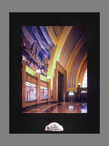Signed and numbered 19x24 poster of the interior architectural details of Union Terminal in Cincinnati