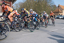 Carmen Small and Joëlle Numainville keep good positions as the climbs start to come quickly one after the other - 2016 Omloop het Nieuwsblad - Elite Women, a 124km road race from Vlaams Wielercentrum Eddy Merckx to Ghent on February 27, 2016 in East Flanders, Belgium.