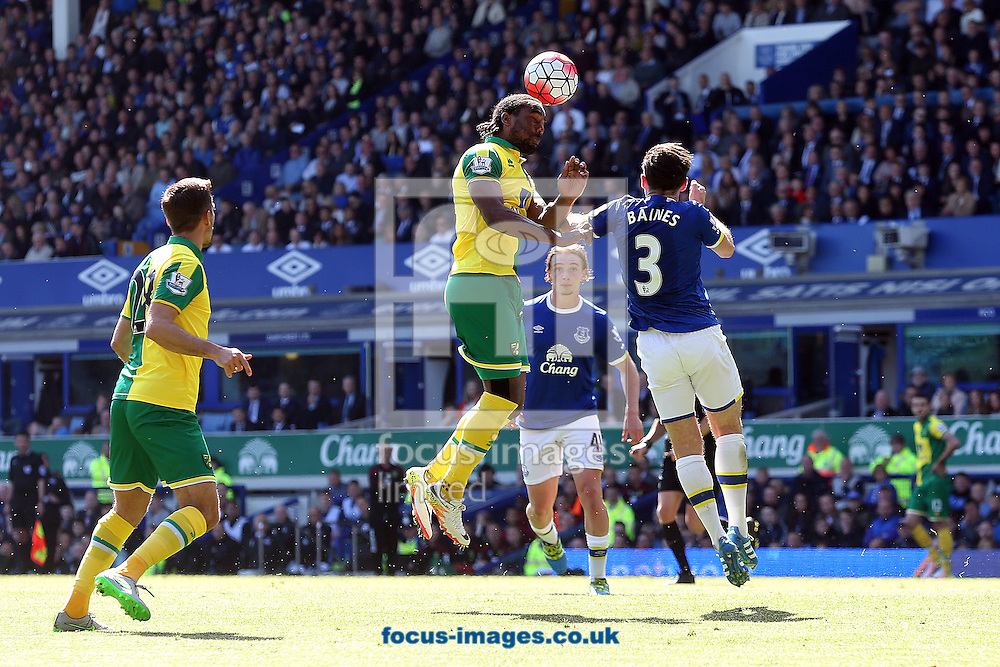 Cameron Jerome of Norwich wins a header during the Barclays Premier League match at Goodison Park, Liverpool<br /> Picture by Paul Chesterton/Focus Images Ltd +44 7904 640267<br /> 15/05/2016