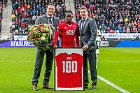 ALKMAAR - 19-03-2017, AZ - ADO Den Haag, AFAS Stadion, Robert Eenhoorn, AZ speler Ridgeciano Haps, Max Huiberts., 100 wedstrijden.